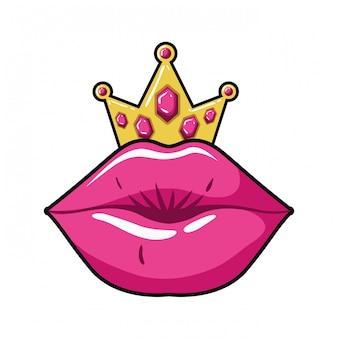Vrouwelijke lippen popart stijl geïsoleerde pictogram