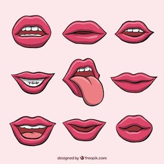 Vrouwelijke lippencollectie met 2d-stijl