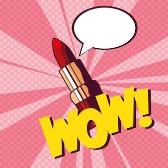 Vrouwelijke lippenstift make-up pop-art stijl
