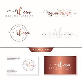 Vrouwelijke logo-collecties en templat voor visitekaartjes