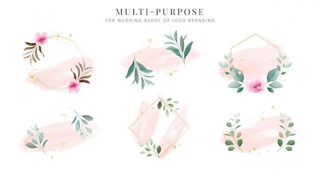 Vrouwelijke logo-collecties. hand getrokken moderne bloemen en aquarel badge sjablonen