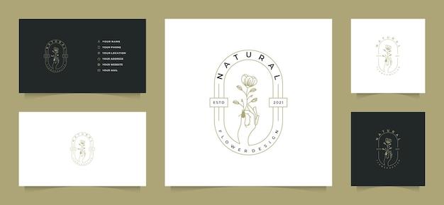 Vrouwelijke logo-collecties met visitekaartje,