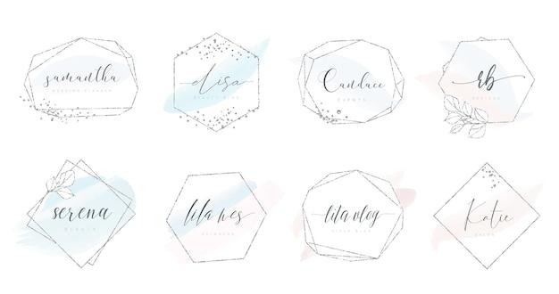 Vrouwelijke logo-ontwerpen in zilveren geometrische vorm met glitter en aquarel penseelstreken