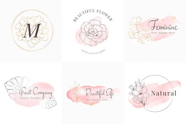 Vrouwelijke logo's collectie, handgetekende moderne minimalistische en bloemen- en aquarelbadgesjablonen voor branding, identiteit, boetiek, salon