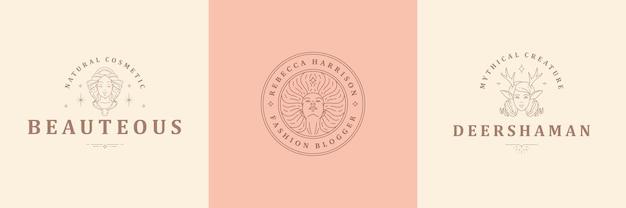 Vrouwelijke logo's emblemen ontwerpsjablonen set met magische vrouw portretten vectorillustraties