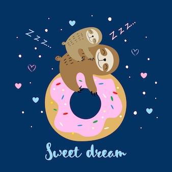 Vrouwelijke luiaard met een baby die op een zoete doughnut slaapt