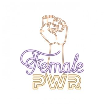 Vrouwelijke macht label met hand in strijd signaal pictogrammen