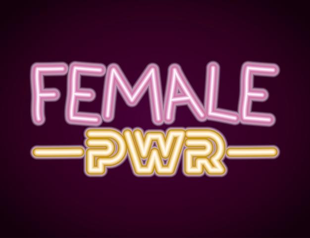 Vrouwelijke machtszin met neonlicht