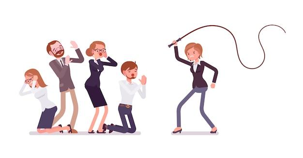 Vrouwelijke manager die als tiran van het bureau optreedt