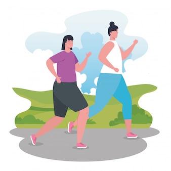 Vrouwelijke marathonlopers die sportief hardlopen, groepsvrouwen rennen, wedstrijd- of marathonraceposter, gezonde levensstijl en sport