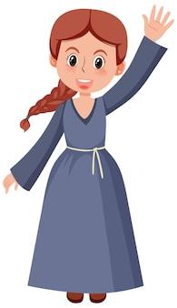 Vrouwelijke middeleeuwse historische stripfiguren