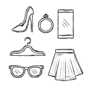 Vrouwelijke mode accesoires pictogrammen