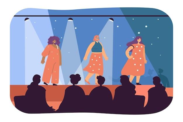 Vrouwelijke modellen die deelnemen aan modeshow. vlakke afbeelding