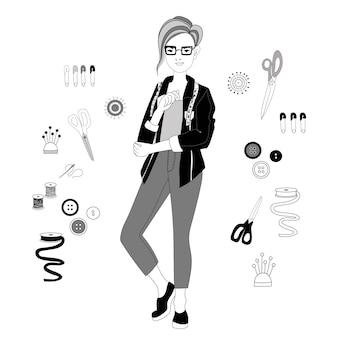 Vrouwelijke modeontwerper met kort kapsel set tools voor naaister vector afbeelding in doodle stijl