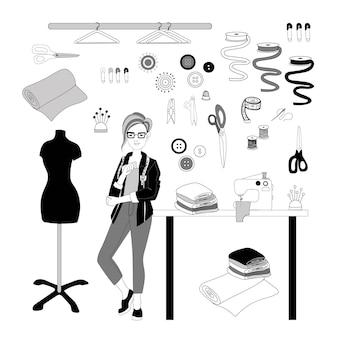 Vrouwelijke modeontwerper met kort kapsel vector afbeelding in doodle stijl hand tekenen