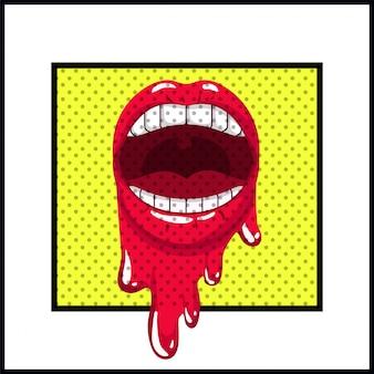 Vrouwelijke mond druipende pop-art stijl