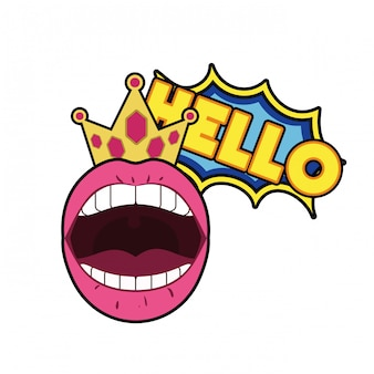 Vrouwelijke mond met tekstballon geïsoleerd pictogram