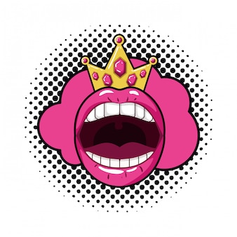 Vrouwelijke mond popart stijl geïsoleerde pictogram