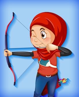 Vrouwelijke moslim boogschutter karakter