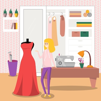 Vrouwelijke naaister naaien elegante rode jurk voor haar klant illustratie, ontwerpelement voor poster of banner
