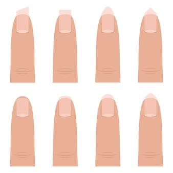 Vrouwelijke nagel vormen ontwerp illustratie geïsoleerd op een witte achtergrond
