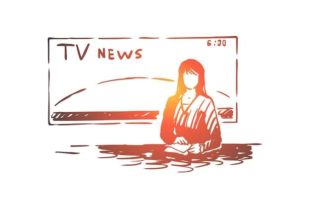 Vrouwelijke nieuwslezer, journalistenberoep, professionele vrouwelijke sprekerillustratie