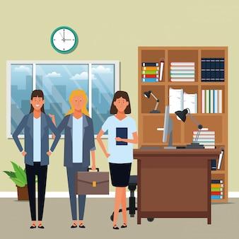 Vrouwelijke ondernemers avatar stripfiguur in het kantoor