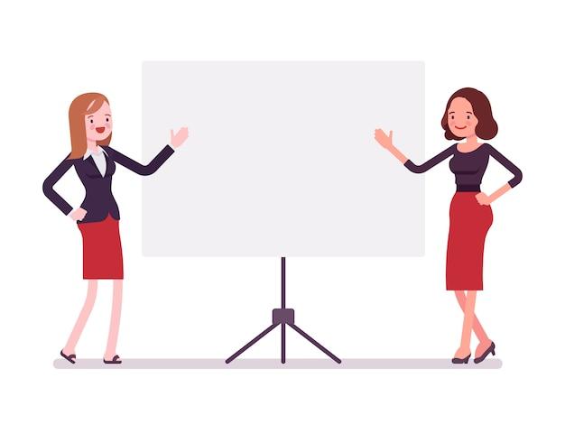 Vrouwelijke ondernemers bij de presentatie