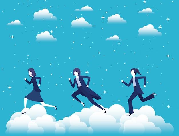 Vrouwelijke ondernemers concurreren in de lucht