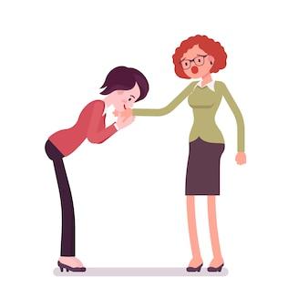 Vrouwelijke ondernemers hand kus gebaar