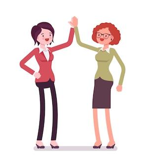 Vrouwelijke ondernemers highfive gebaar