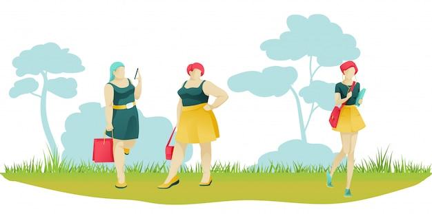 Vrouwelijke ondernemers in verschillende vormen op natuurlijke scène