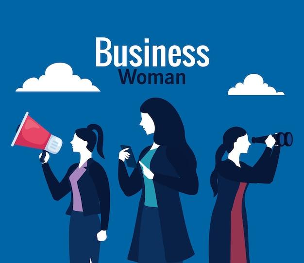 Vrouwelijke ondernemers met megafoon, smartphone, verrekijker en wolken op blauw