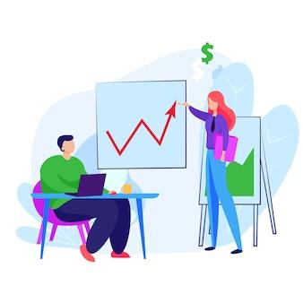 Vrouwelijke ondernemers presenteren grafiek aan collega