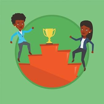 Vrouwelijke ondernemers strijden om de zakelijke prijs.