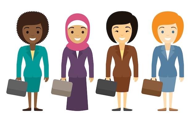 Vrouwelijke ondernemers tekens van verschillende etniciteit in vlakke stijl. internationaal vrouwelijk kantoorpersoneel.