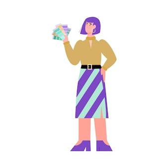Vrouwelijke ontwerper van drukkerij houdt kleurengids pantone een vectorillustratie