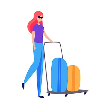 Vrouwelijke passagier rijdende kar met koffers