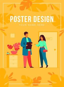 Vrouwelijke patiënt in arts kantoor poster sjabloon
