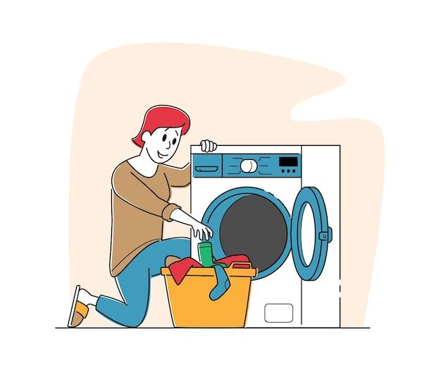 Vrouwelijke personage in openbare wasserette schone kleren aan mand te leggen