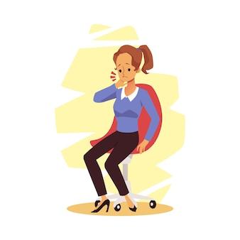 Vrouwelijke personage kantoormedewerker gevoel pijn in haar nek, platte vectorillustratie geïsoleerd op een wit oppervlak