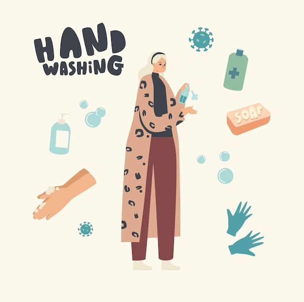 Vrouwelijke personage ontsmettingsmiddel ontsmettingsmiddel uit fles spuiten op handen