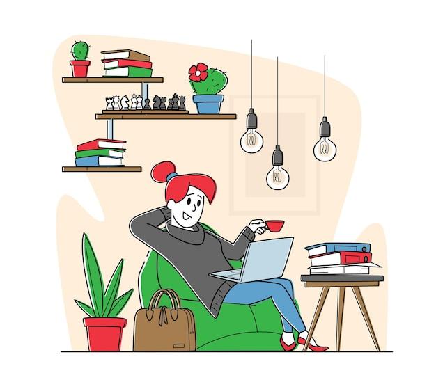 Vrouwelijke personage ontspannen in office lounge zone. remote freelance werk of coworking area concept