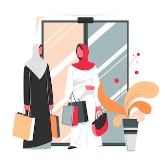 Vrouwelijke personages die hijabs dragen, lopen met boodschappentassen in winkelcentrum of centrum. moslimvrouwen die in hun vrije tijd kleding of producten kopen. rijk islampersonage in hijab in winkel. vector in vlakke stijl