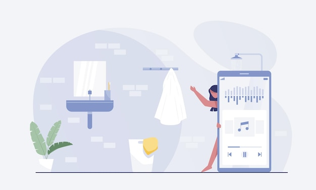 Vrouwelijke personages nemen een douche en luisteren naar audiopodcasts met een smartphone. vector illustratie