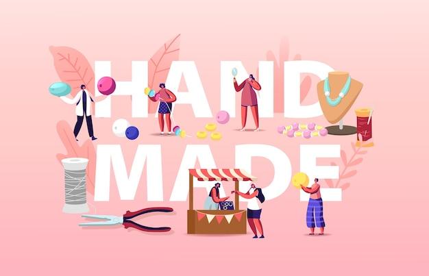 Vrouwelijke personages sieradenontwerpers maken bijouterie kettingen illustratie