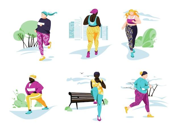 Vrouwelijke personages voeren sportactiviteiten uit. verschillende rassen met vrouwen doen buitensportoefeningen, fitnesstraining. cartoon plat.