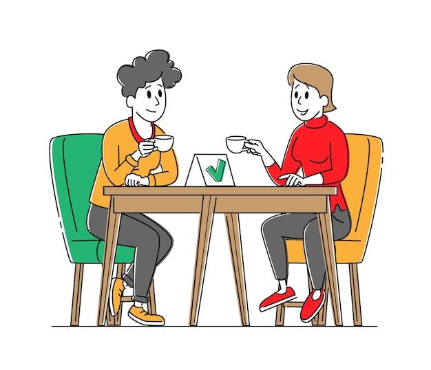 Vrouwelijke personages zitten aan een gedesinfecteerde cafétafel en drinken koffie met masker en fles met ontsmettingsmiddel