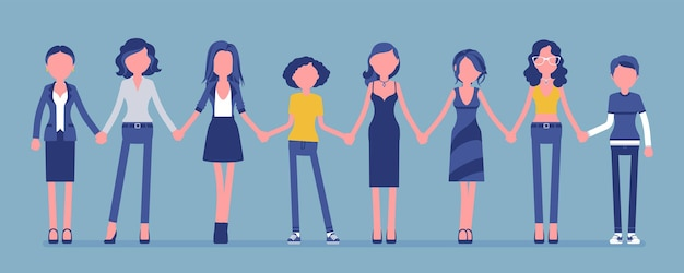Vrouwelijke personen staan samen hand in hand