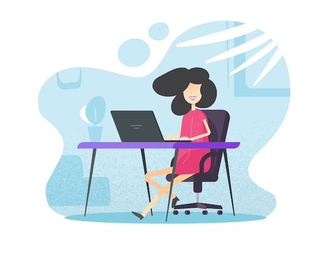 Vrouwelijke persoon werken en leren van kantoor aan huis zittend op tafel bureau